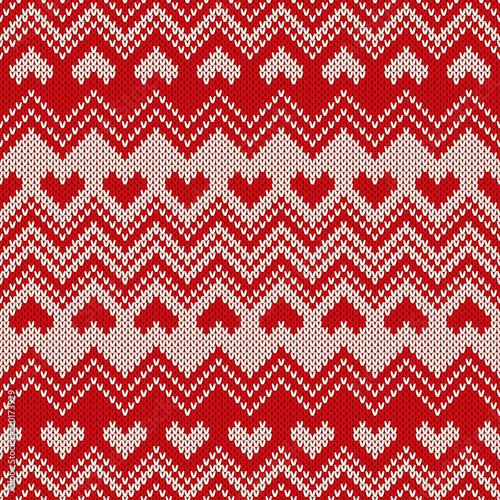 Cotton fabric Fair Isle Style Knitted Sweater Design with Hearts. Seamless Knitting Pattern. Vector Texture