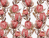 Hand-drawn watercolor seamless tropical pattern with red protea flowers in retro style. Vintage exotic summer print with floral elements for the textile and wallpapers.