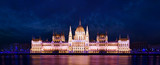 The Hungarian Parliament Building at Danube in Budapest at eveni - 120182314