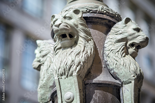 Sculpture of lions buttress fonanry pole on the Ilinka street in Moscow Poster