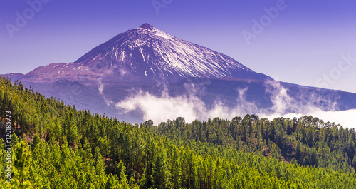 Poster Canarische Eilanden Teide park and Teide Volcano in winter season, Tenerife, Canary Islands, Spain