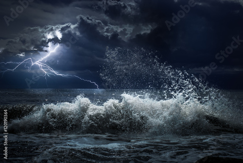 dark ocean storm with lgihting and waves at night Poster