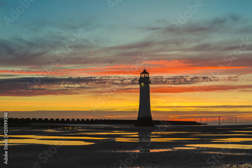 Poster Gorgeous landscape Perch Rock Lighthouse, New Brighton, Merseyside at sunset