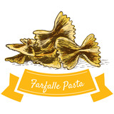 Farfalle pasta colorful illustration.
