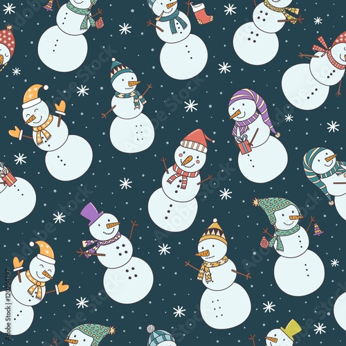 Materiał do szycia Christmas seamless pattern with cute snowmen and falling snow