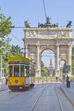 milano tram ed arco della pace castello sforzesco lombardia italia europa - 120205137