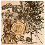 Shaman, bear and eagle. An hand drawn vector picture. Line art i - 120205778