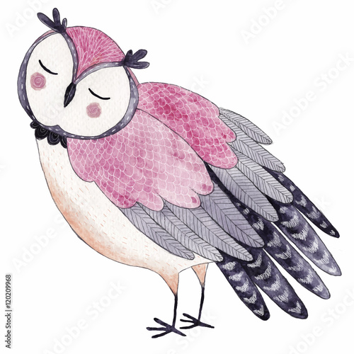 Watercolor funny kids illustration with owl - 120209968