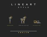 Cocktail wineglass vector icon style line art. Monogram emblem element design style lineart.