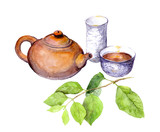 Teaparty: chinese teapot, tea cup and green leaves. Watercolor