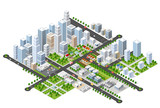Fototapety Megapolis 3d isometric three-dimensional view of the city. Collection of houses, skyscrapers, buildings, built and supermarkets with streets and traffic. The stock vector