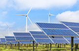 solar photovoltaics  panel and wind turbines generating electricity green energy renewable  - 120221794