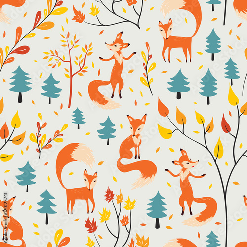 Cotton fabric Fox in autumn forest