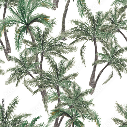 Beautiful seamless watercolor painting floral tropical pattern background with palm tree - 120229325