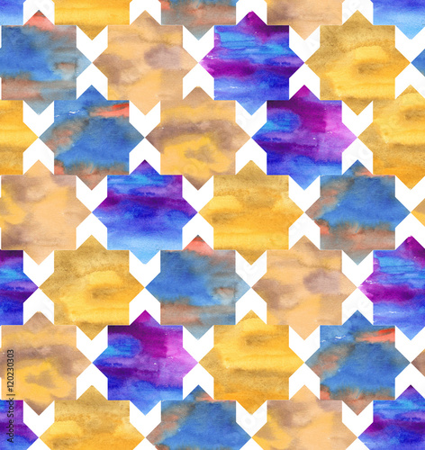 Hand-drawn watercolor seamless pattern in Moroccan style. Colorful tiles in the repeated print for the textile and wallpapers. Geometrical background - 120230303