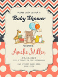 Beautiful baby girl shower card with toys