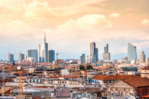 Foto op Canvas Milan Milan skyline with modern skyscrapers in Porto Nuovo business district in Italy