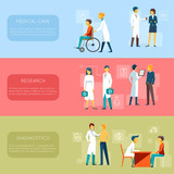 Doctor banners and medical staff banner vector set
