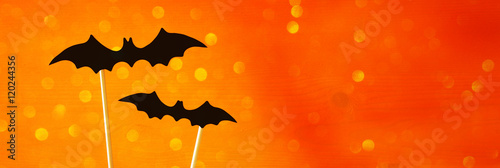 Halloween holiday concept. Funny paper bats - 120244356