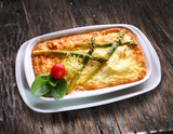 Traditional omelette with asparagus. - 120245153