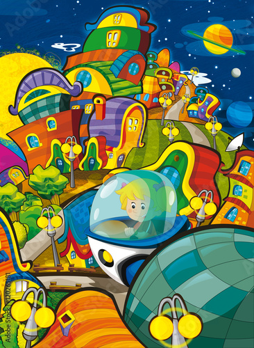 Foto op Aluminium Kosmos Cartoon scene with girl flying in the space ship over the space city illustration for children