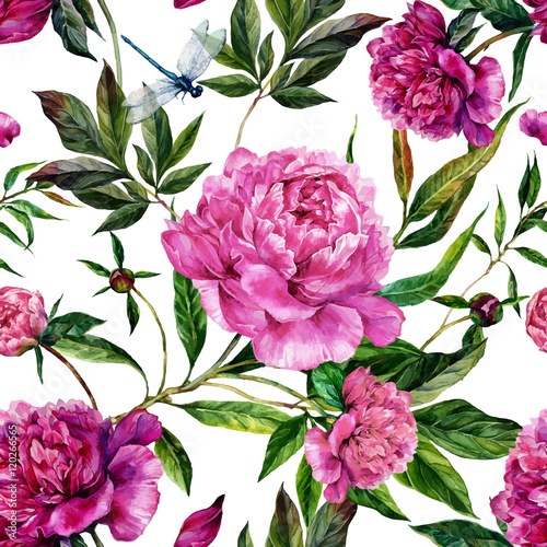 Cotton fabric Hand drawn pink peonies bouquet seamless pattern