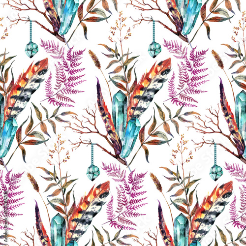 Cotton fabric Watercolor Boho Chic design elements