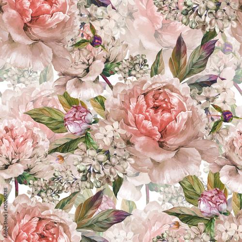 Vintage floral seamless watercolor pattern - 120266788