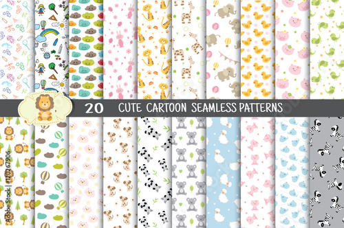 fototapeta na ścianę cute cartoon seamless patterns.pattern swatches included for illustrator user, pattern swatches included in file, for your convenient use.