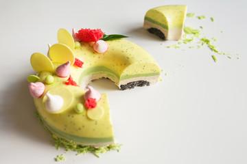 Beautiful tasty sliced cake close-up