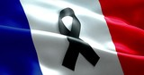 pray for paris, nice, france, waving france country flag color background with black ribbon. Attack terrorism victims in france concept