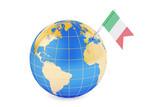 Italian pin flag on globe map, 3D rendering