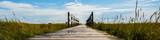 Panoramiczny drewniany most Morze Północne