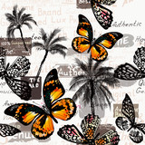Vector pattern with butterflies and palm trees for design