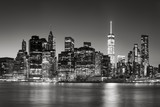 Black & White East River view of Financial District skyscrapers at dusk. Lower Manhattan skyline, New York City - 120331503