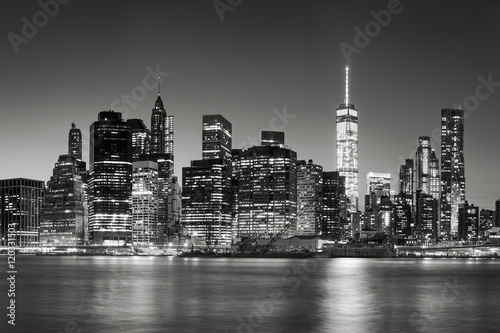 Black & White East River view of Financial District skyscrapers at dusk Poster