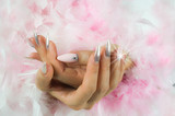 nails pink and pearl with diamonds