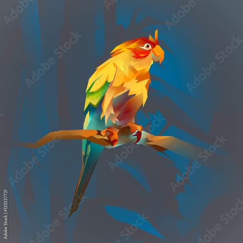Papiers peints Chambre bébé bright parrot on a branch