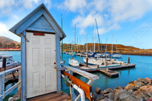 Plakat Yacht club harbour San Francisco Bay w Fort Baker