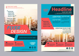 Fototapety Modern Flat Brochure Layout design template. Annual Report Flyer Leaflet cover Presentation Modern background. illustration vector in A4 size