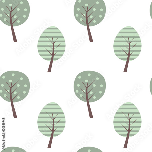 cute colorful tree seamless vector pattern background illustration- 120349945