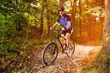 Man practicing mountain biking