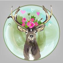 bunten Kopf der Rotwild mit Blumen