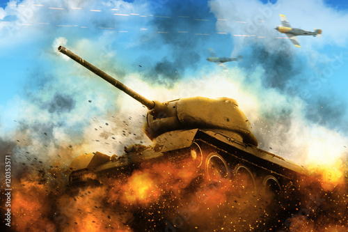 The tank in the blazing fire