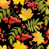 Colorful Autumn Leaves Background - Seamless Pattern - in Watercolor