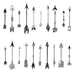 Tribal arrows set. Different native american arrows collection. Decorative vector stylized illustration of booms. Design elements for packaging, books, textile. Painted arrows, boho style.