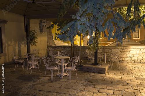 Poster     Little vintage cafe bar at night