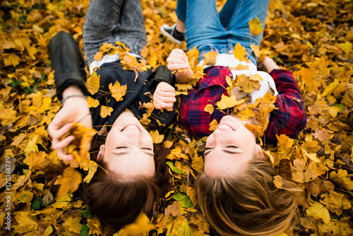 Poster Friends having fun in leaves