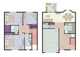 Vector of three bedroom townhouse