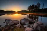 Lake sunrise / Beautiful sunrise view of Shiroka Polyana dam in Rhodopi Mountains, Bulgaria